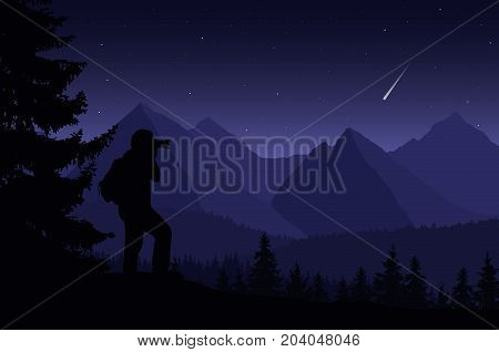 Vector illustration of a mountain landscape with trees and a human being photographed under a night purple sky with stars and a falling comet