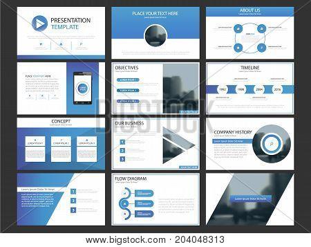 Business presentation infographic elements template set annual report corporate horizontal brochure design template