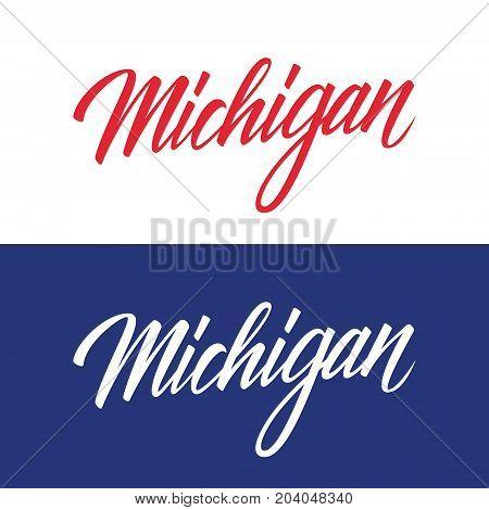 Handwritten U.S. state name Michigan. Calligraphic element for your design. Vector illustration.