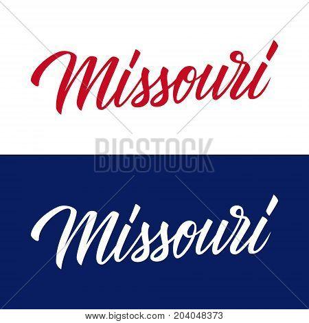 Handwritten U.S. state name Missouri. Calligraphic element for your design. Vector illustration.