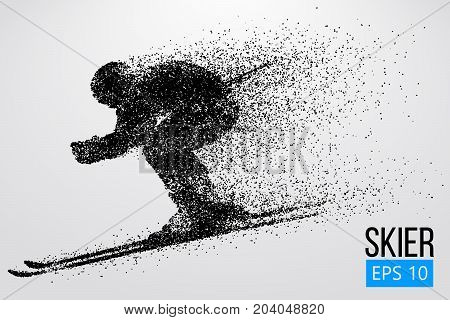 Silhouette of a skier isolated. Background and text on a separate layer, color can be changed in one click. Vector illustration