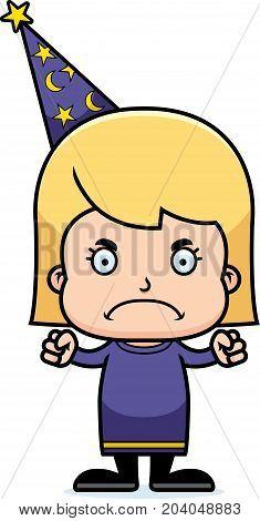 Cartoon Angry Wizard Girl