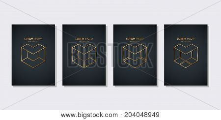 Set of M letter brand golden line graphic design. Vector illustration.