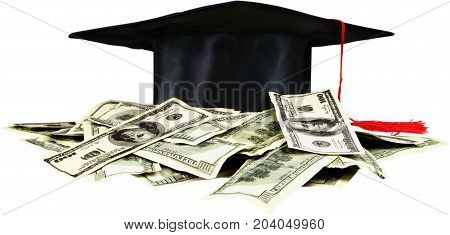 Hat dollars graduation money symbol promotion doctor