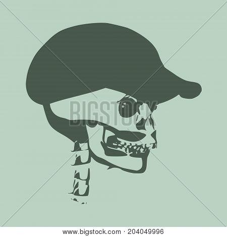 Anatomic skull in cap. Detailed illustration of human skull.