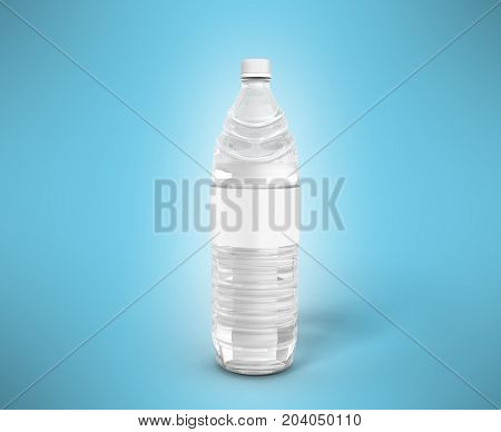 Bottle Of Plastic White With Water 3D Render On Blue Background