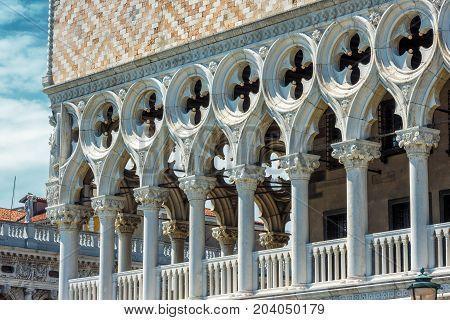 Decoration of the facade of the Doge`s Palace, or Palazzo Ducale, in Venice, Italy. Dode`s Palace is one of the main tourist destination in Venice.