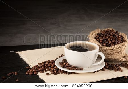 Cup coffee hot beans hot coffee close up coffee break
