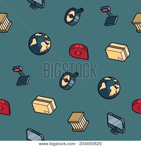 Logistics color outline isometric pattern. Vector illustration, EPS 10