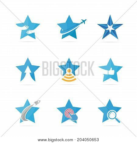 Set of star logo combination. Leader and celebrate symbol or icon. Unique achievement and luxury logotype design template.