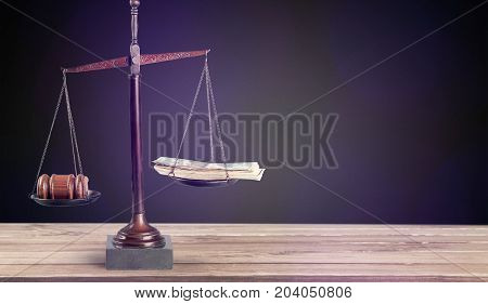 Money justice scales gavel background paper isolated