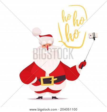 Santa Claus making selfie and laughing hoho. Vector cartoon flat character design on white background. White smartphone on selfie stick.