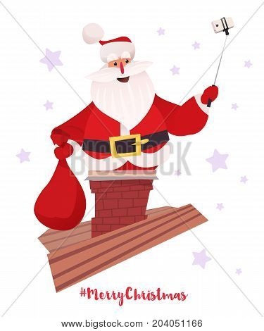 Santa Claus making selfie with bag of presents in chimney. Vector cartoon flat character design on white background. White smarphone on a selfie stick.