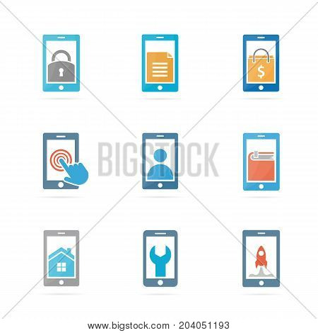 Set of phone logo combination. Mobile and gadget symbol or icon. Unique telephone and cellphone logotype design template.