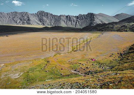 Plateau In National Park Of Elbrus Region In Summer. North Caucasus Russia