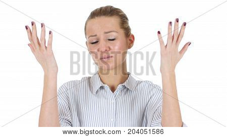 Woman Upset By Loss Isolated On White Background