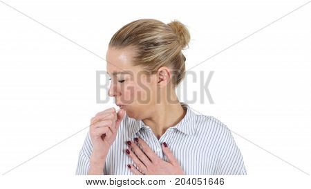 Cough, Coughing Sick Woman Isolated On White Background