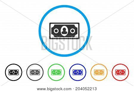 Banknote icon. Vector illustration style is a flat iconic banknote grey rounded symbol inside light blue circle with black, gray, green, blue, red, orange color variants.