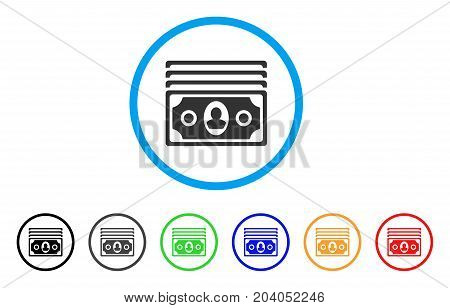 Banknotes icon. Vector illustration style is a flat iconic banknotes grey rounded symbol inside light blue circle with black, gray, green, blue, red, orange color additional versions.