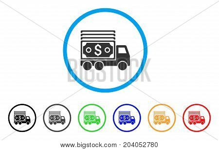 Cash Lorry icon. Vector illustration style is a flat iconic cash lorry grey rounded symbol inside light blue circle with black, gray, green, blue, red, orange color additional versions.