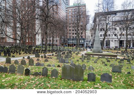 Historical graveyard during the fall in Boston MA