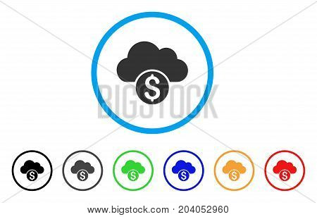 Cloud Banking icon. Vector illustration style is a flat iconic cloud banking gray rounded symbol inside light blue circle with black, gray, green, blue, red, orange color variants.