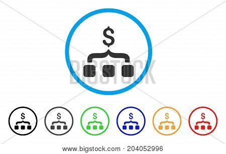 Collect Money icon. Vector illustration style is a flat iconic collect money gray rounded symbol inside light blue circle with black, gray, green, blue, red, orange color versions.