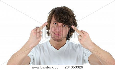 Man Showing Middle Finger, Isolated On White Background