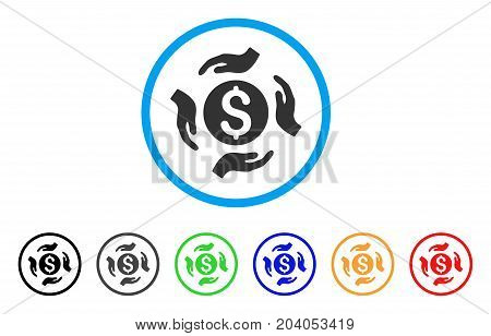 Money Care Hands icon. Vector illustration style is a flat iconic money care hands gray rounded symbol inside light blue circle with black, gray, green, blue, red, orange color variants.