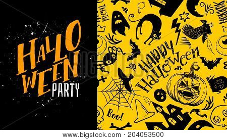 Halloween seamless pattern with Trick or treat calligraphy text logo. Vector background. Ornament for greeting card, invitation, poster. Black and yellow colors. Grave, ghost, pumpkin, cat, bat, castle