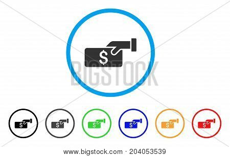 Pay icon. Vector illustration style is a flat iconic pay gray rounded symbol inside light blue circle with black, gray, green, blue, red, orange color variants.