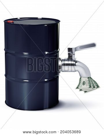 Dollars flowing from oil Barrels through the tap isolated on white