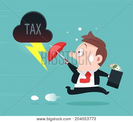 Businessman Running Away From Tax Tax Avoidance Cartoon Design-Vector And Illustration