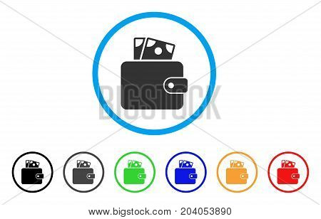 Wallet icon. Vector illustration style is a flat iconic wallet gray rounded symbol inside light blue circle with black, gray, green, blue, red, orange color additional versions.
