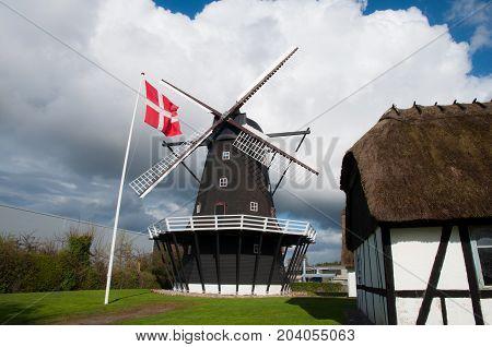 Ejegod Windmill in City of Nykoebing in Denmark
