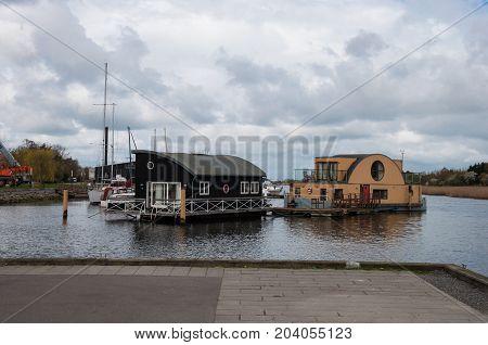 Sakskoebing Denmark -  April 14 2017: Houseboats In The Harbor