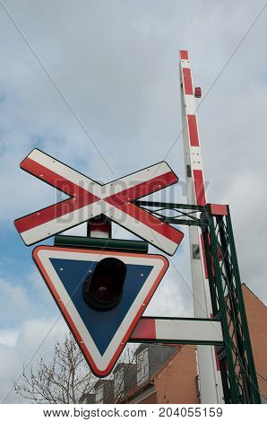 Danish Railroad Crossing Sign In Town Of Sakskoebing