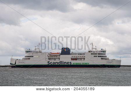 Rodby Denmark - April 14 2017: Scandlines Ferry Deutschland In Rodby Harbor In Denmark