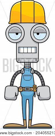 Cartoon Bored Construction Worker Robot