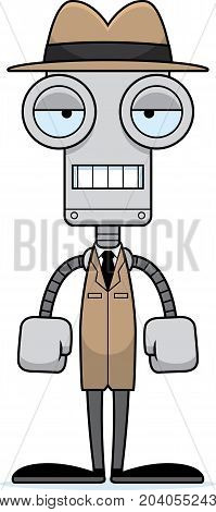 Cartoon Bored Detective Robot
