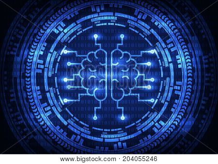 Artificial intelligence brain with ring gears on binary code background. Vector illustration technology abstract background.