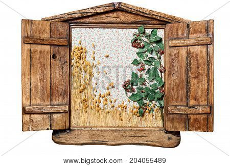 Decorative Wooden Window. External Side Of A Casement Wooden Window With Shutters Opened, Isolated O