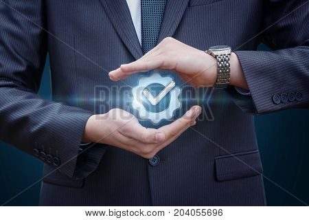 Businessman Protects Sign The Best Possible Service .