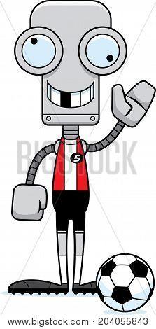 Cartoon Silly Soccer Player Robot