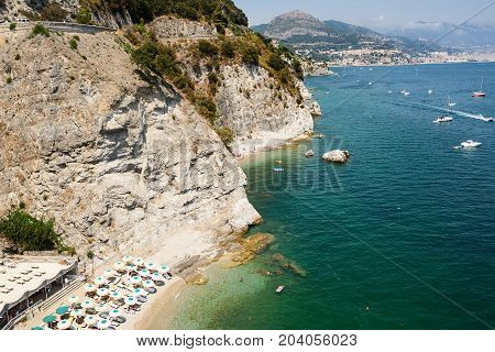 Amalfi Coast and the background Vietri and Salerno (Italy)