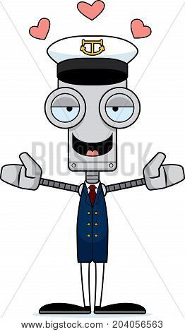 Cartoon Boat Captain Robot Hug