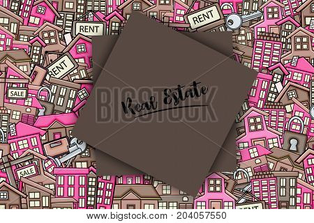 Real estate concept in 3d cartoon doodle background design. Hand drawn colorful vector illustration.
