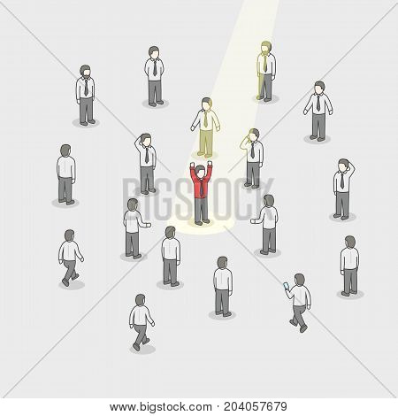 Businessman spotlight. Human Resource and Recruitment. Business people hire concept. Isometric Vector Illustration