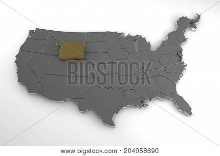 United states of America, 3d metallic map, whith wyoming state highlighted. 3d render
