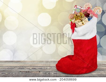 Red christmas sock table color white background